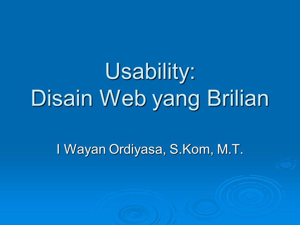Usability: Disain Web yang Brilian