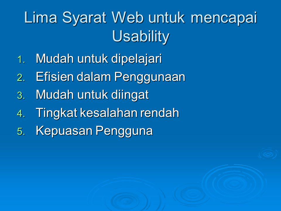 Lima Syarat Web untuk mencapai Usability