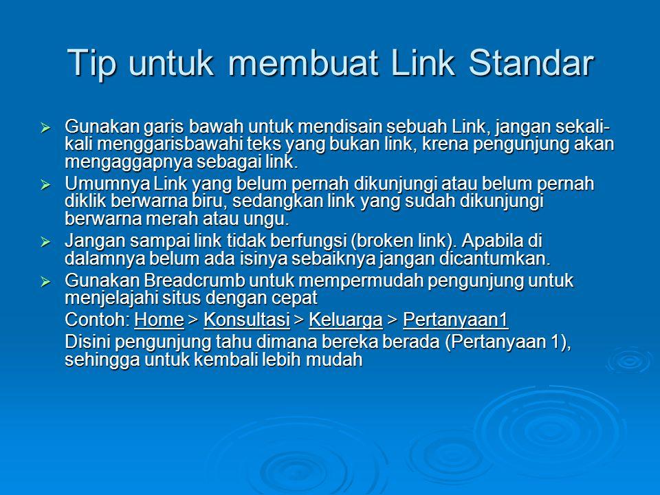 Tip untuk membuat Link Standar