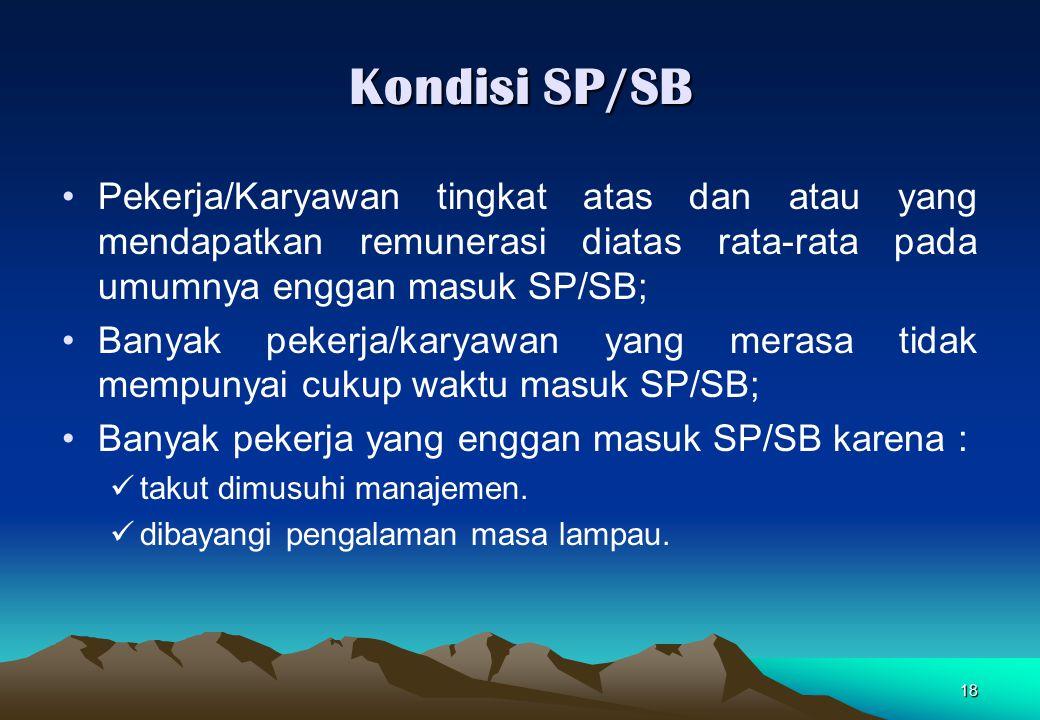 Kondisi SP/SB Pekerja/Karyawan tingkat atas dan atau yang mendapatkan remunerasi diatas rata-rata pada umumnya enggan masuk SP/SB;