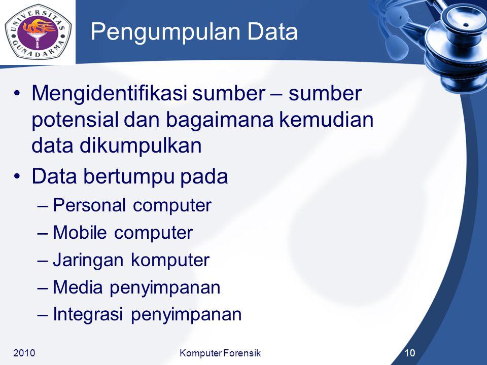 Pengumpulan Data Mengidentifikasi sumber – sumber potensial dan bagaimana kemudian data dikumpulkan.