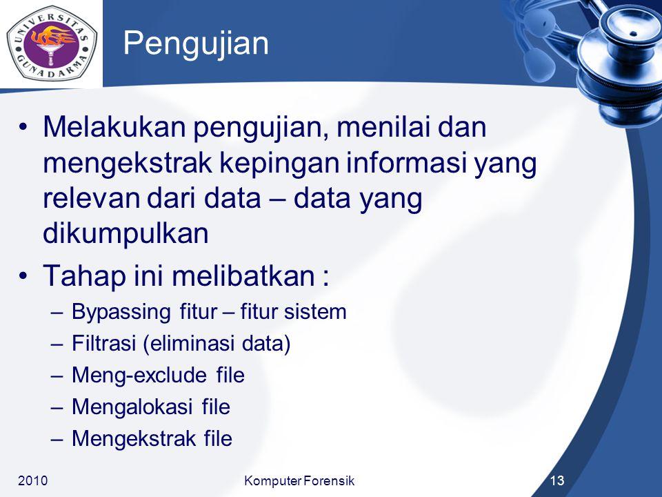 Pengujian Melakukan pengujian, menilai dan mengekstrak kepingan informasi yang relevan dari data – data yang dikumpulkan.