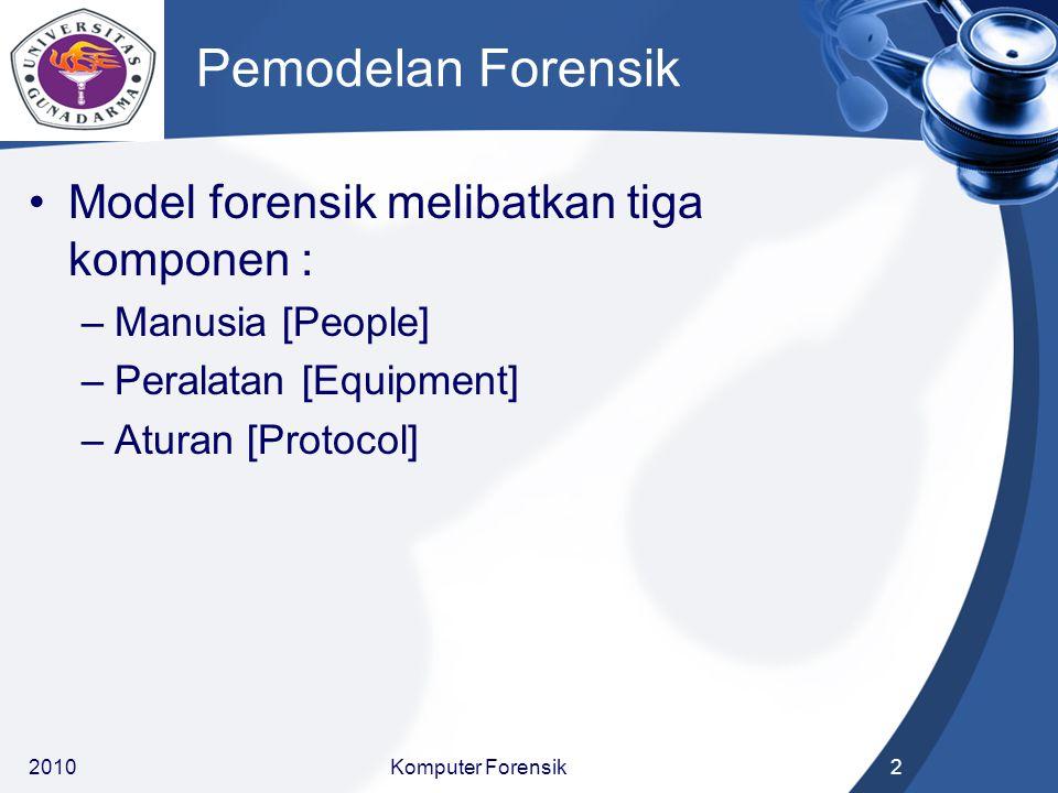 Pemodelan Forensik Model forensik melibatkan tiga komponen :