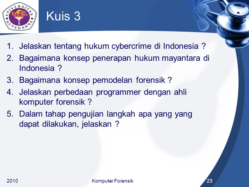 Kuis 3 Jelaskan tentang hukum cybercrime di Indonesia