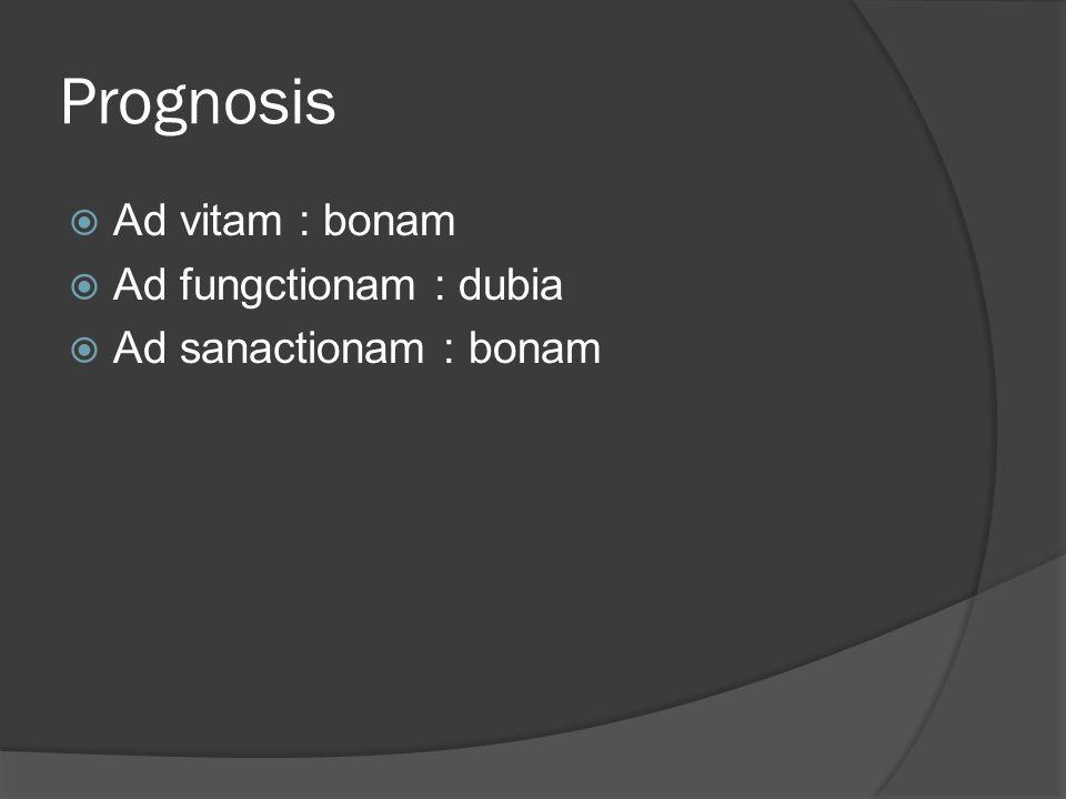 Prognosis Ad vitam : bonam Ad fungctionam : dubia