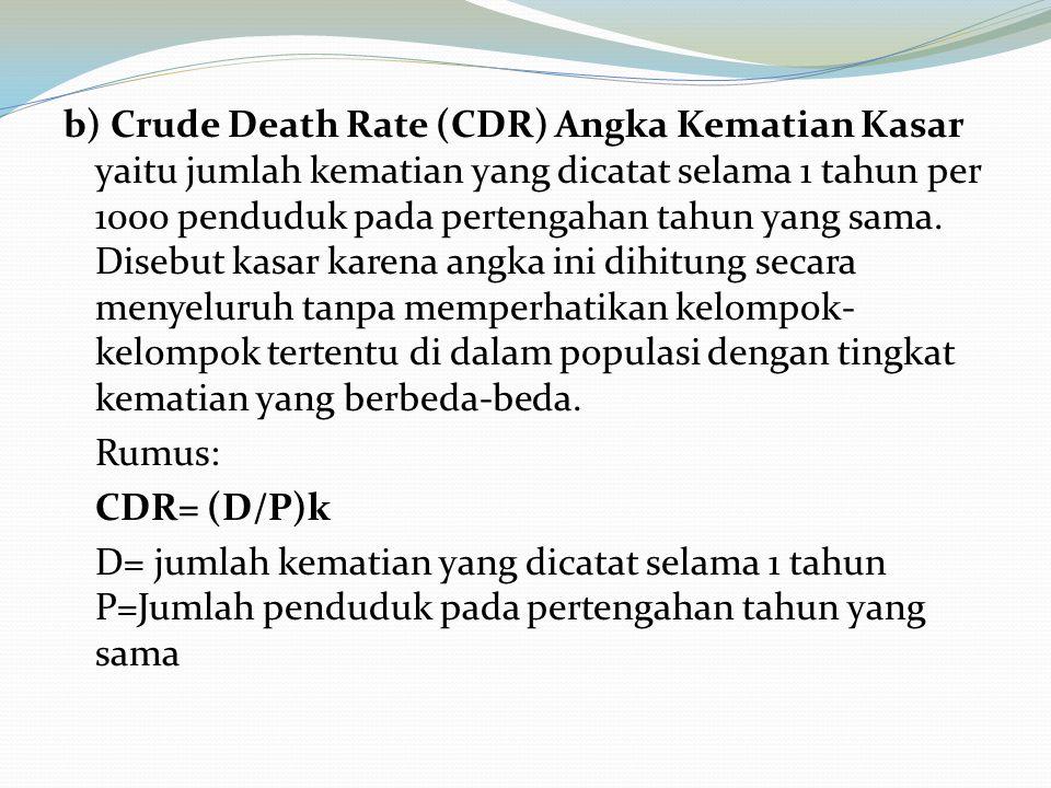 b) Crude Death Rate (CDR) Angka Kematian Kasar yaitu jumlah kematian yang dicatat selama 1 tahun per 1000 penduduk pada pertengahan tahun yang sama.