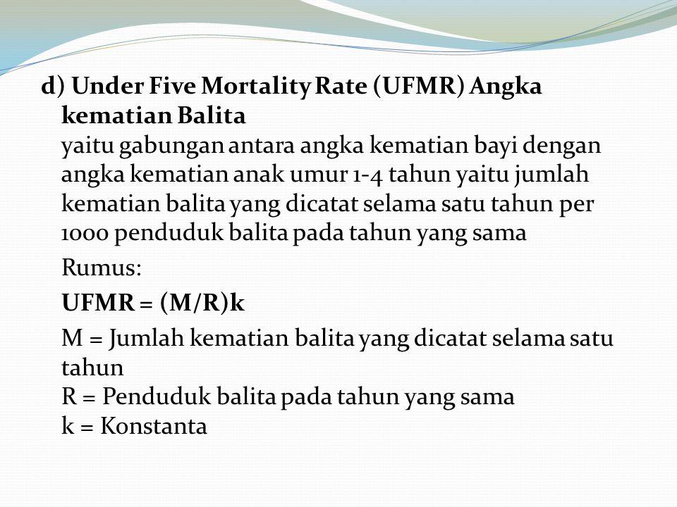 d) Under Five Mortality Rate (UFMR) Angka kematian Balita yaitu gabungan antara angka kematian bayi dengan angka kematian anak umur 1-4 tahun yaitu jumlah kematian balita yang dicatat selama satu tahun per 1000 penduduk balita pada tahun yang sama Rumus: UFMR = (M/R)k M = Jumlah kematian balita yang dicatat selama satu tahun R = Penduduk balita pada tahun yang sama k = Konstanta