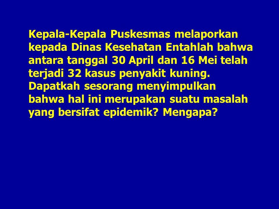 Kepala-Kepala Puskesmas melaporkan kepada Dinas Kesehatan Entahlah bahwa antara tanggal 30 April dan 16 Mei telah terjadi 32 kasus penyakit kuning.