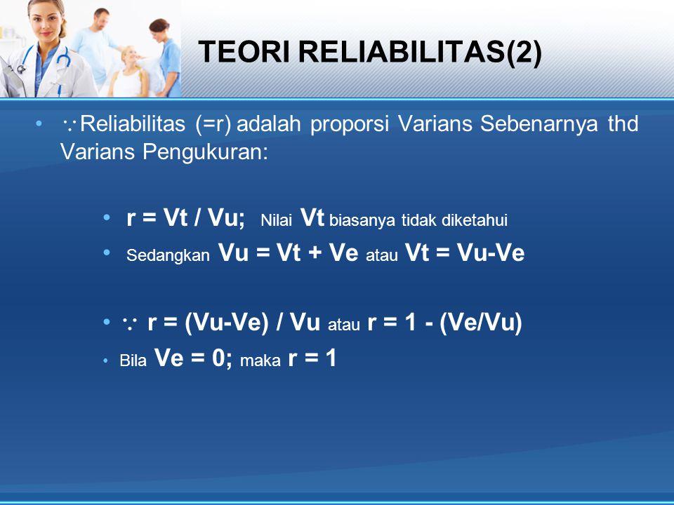 TEORI RELIABILITAS(2) r = Vt / Vu; Nilai Vt biasanya tidak diketahui