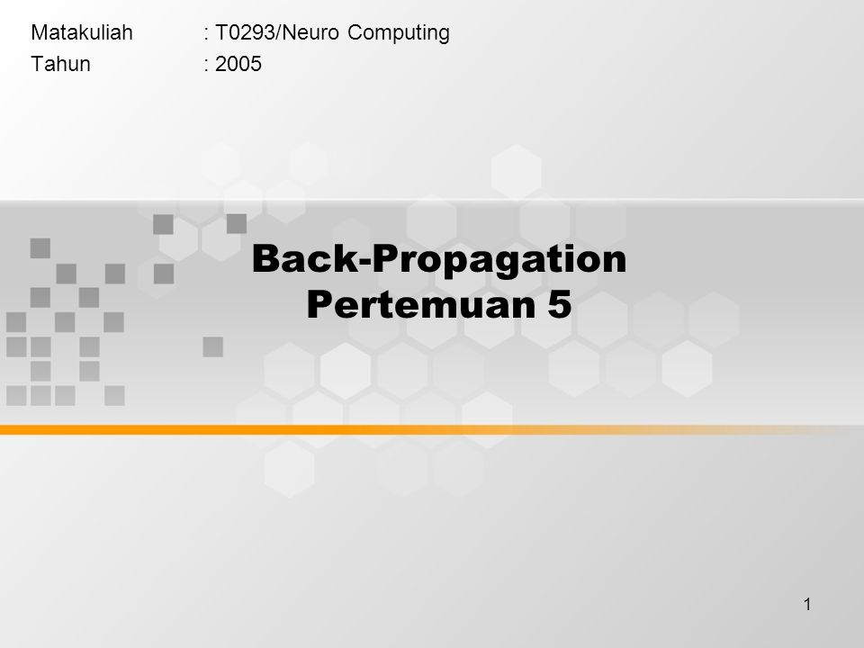 Back-Propagation Pertemuan 5