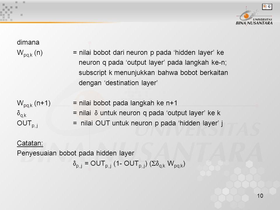 dimana Wpq,k (n) = nilai bobot dari neuron p pada 'hidden layer' ke. neuron q pada 'output layer' pada langkah ke-n;