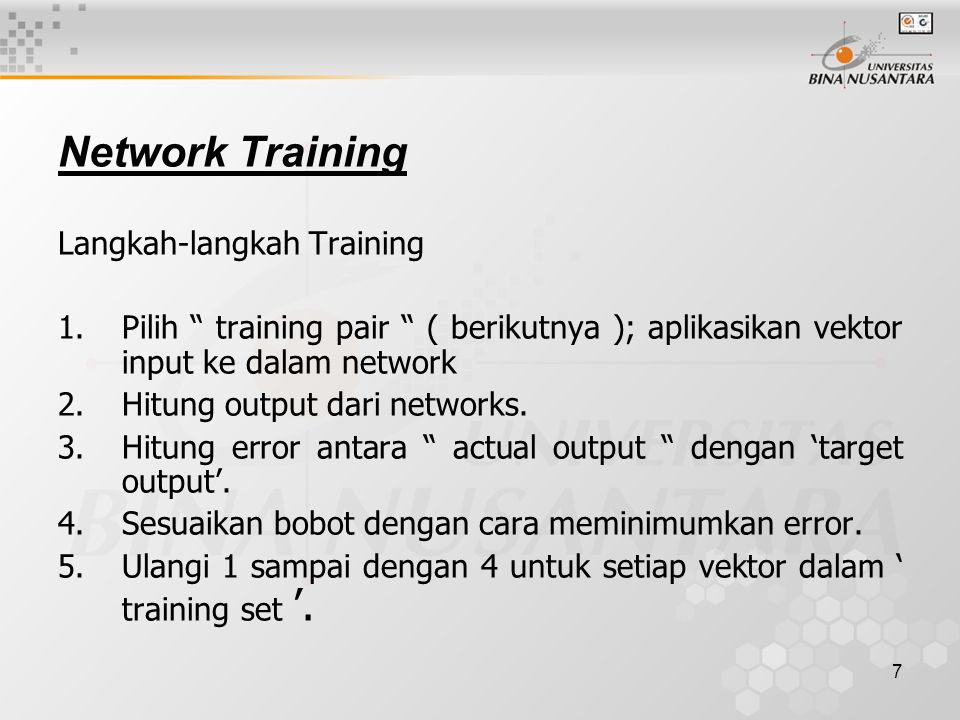 Network Training Langkah-langkah Training
