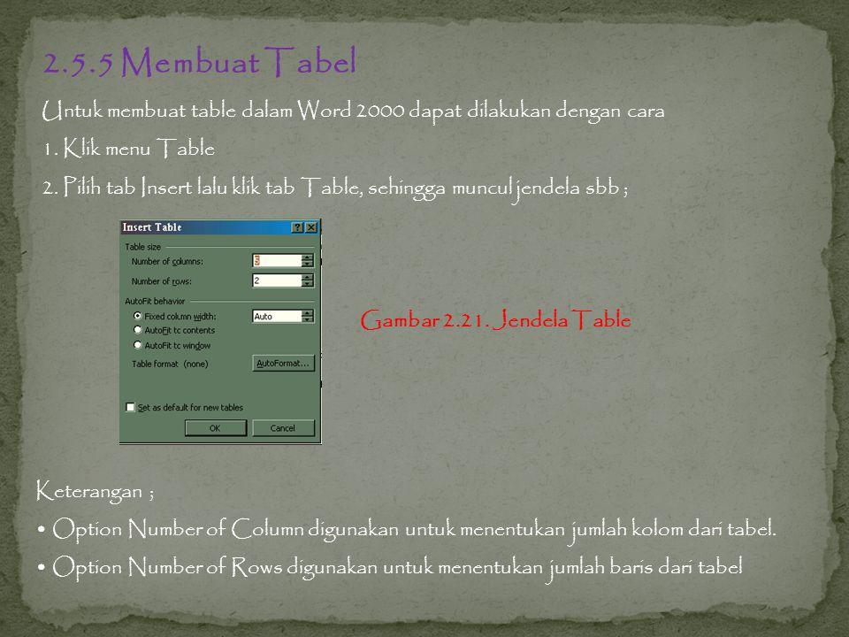 2.5.5 Membuat Tabel Untuk membuat table dalam Word 2000 dapat dilakukan dengan cara. 1. Klik menu Table.