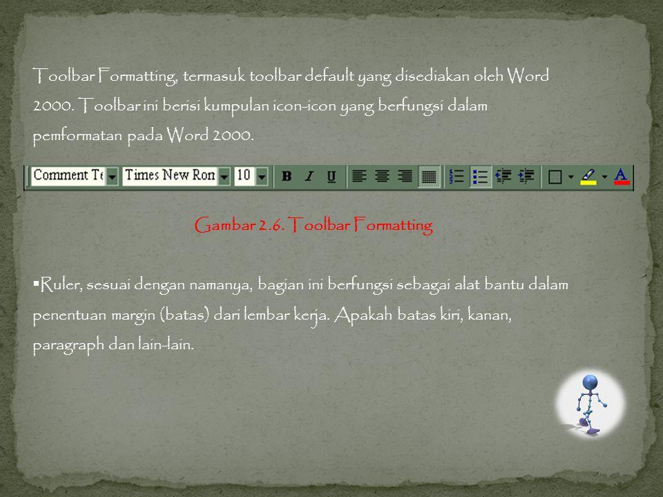 Toolbar Formatting, termasuk toolbar default yang disediakan oleh Word
