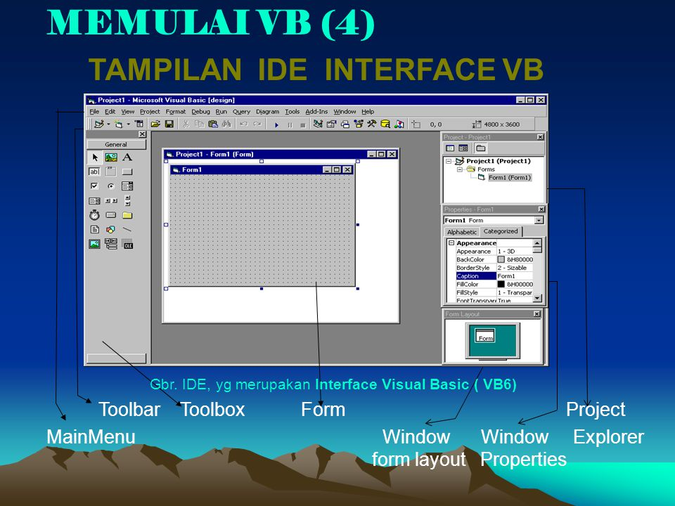 MEMULAI VB (4) TAMPILAN IDE INTERFACE VB Toolbar Toolbox Form Project