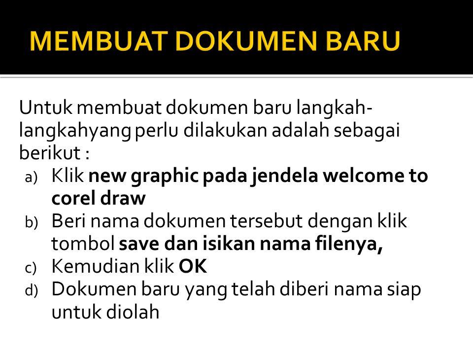 MEMBUAT DOKUMEN BARU Untuk membuat dokumen baru langkah-langkahyang perlu dilakukan adalah sebagai berikut :