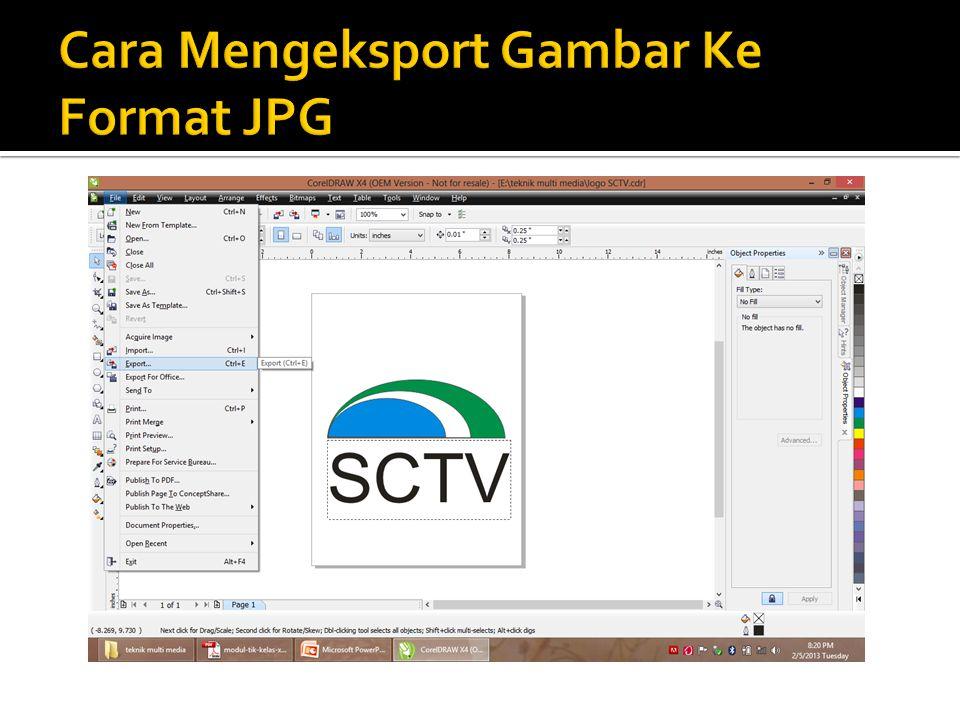 Cara Mengeksport Gambar Ke Format JPG