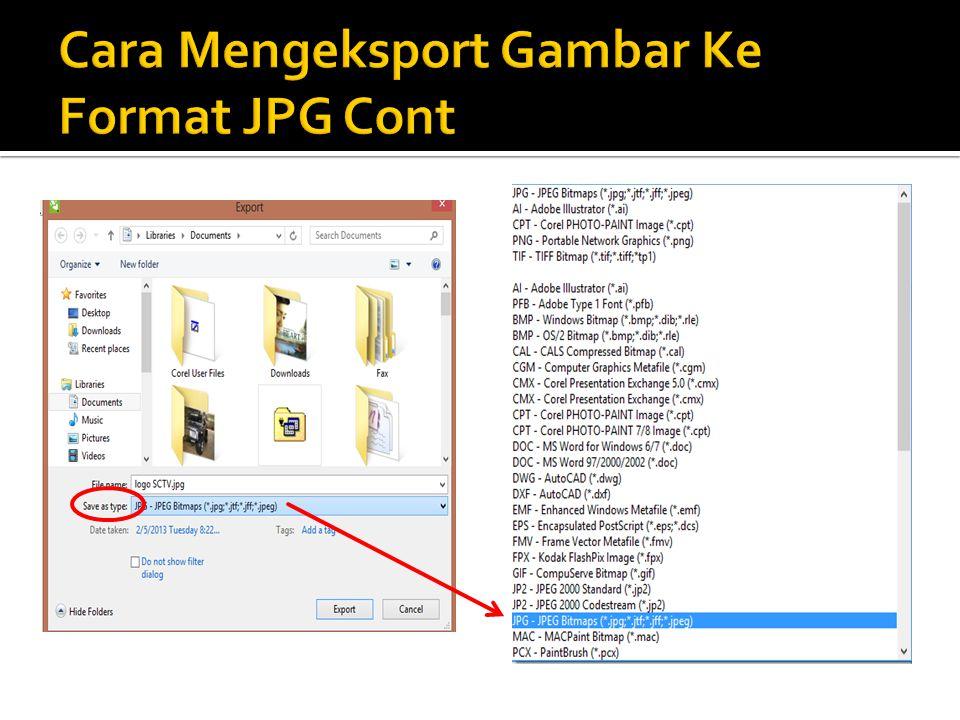 Cara Mengeksport Gambar Ke Format JPG Cont