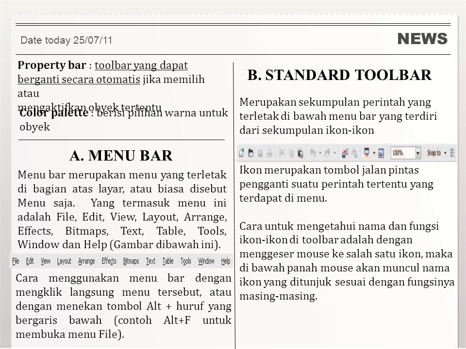 NEWS B. STANDARD TOOLBAR A. MENU BAR