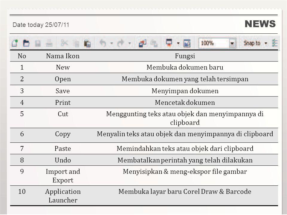 NEWS No Nama Ikon Fungsi 1 New Membuka dokumen baru 2 Open