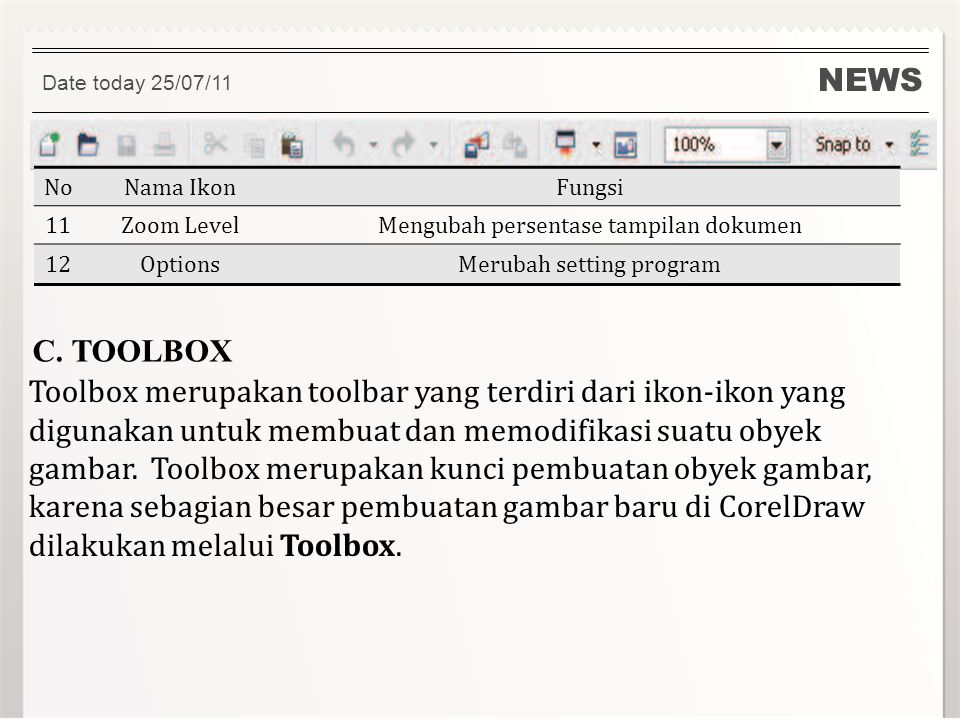 NEWS Date today 25/07/11. No. Nama Ikon. Fungsi. 11. Zoom Level. Mengubah persentase tampilan dokumen.