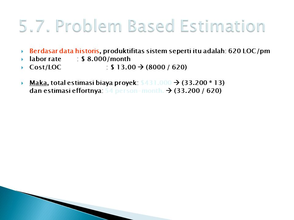 5.7. Problem Based Estimation