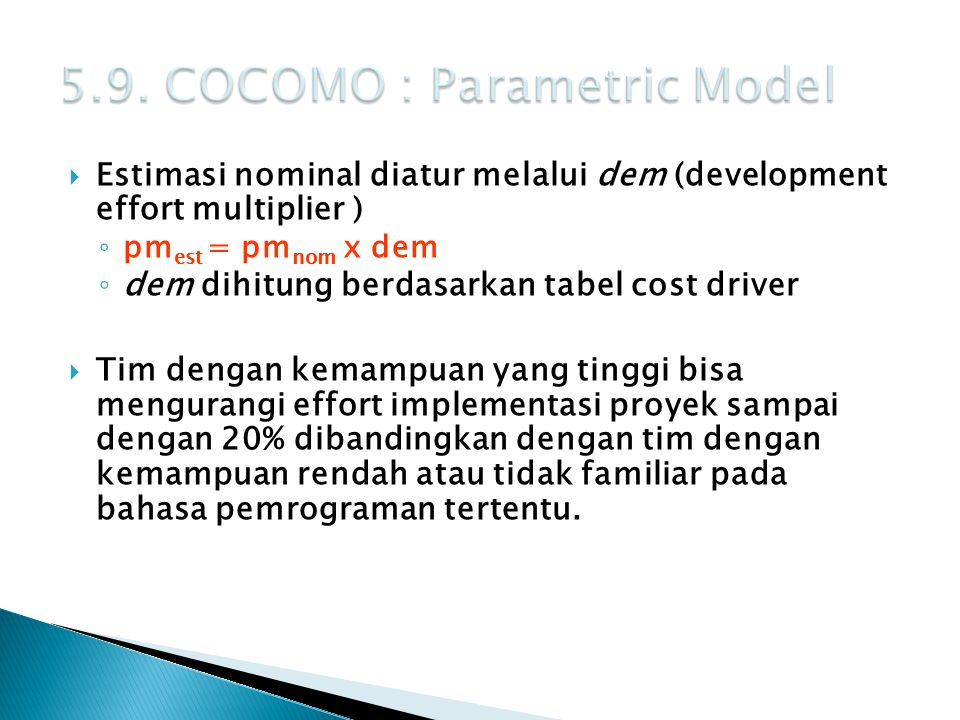 5.9. COCOMO : Parametric Model