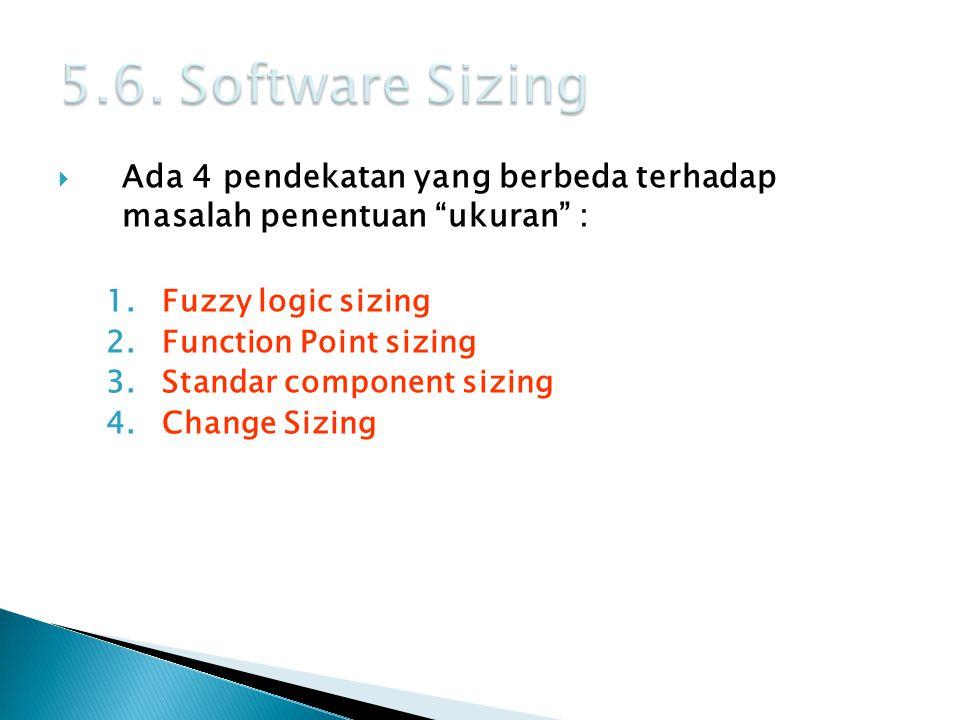 5.6. Software Sizing Ada 4 pendekatan yang berbeda terhadap masalah penentuan ukuran : Fuzzy logic sizing.