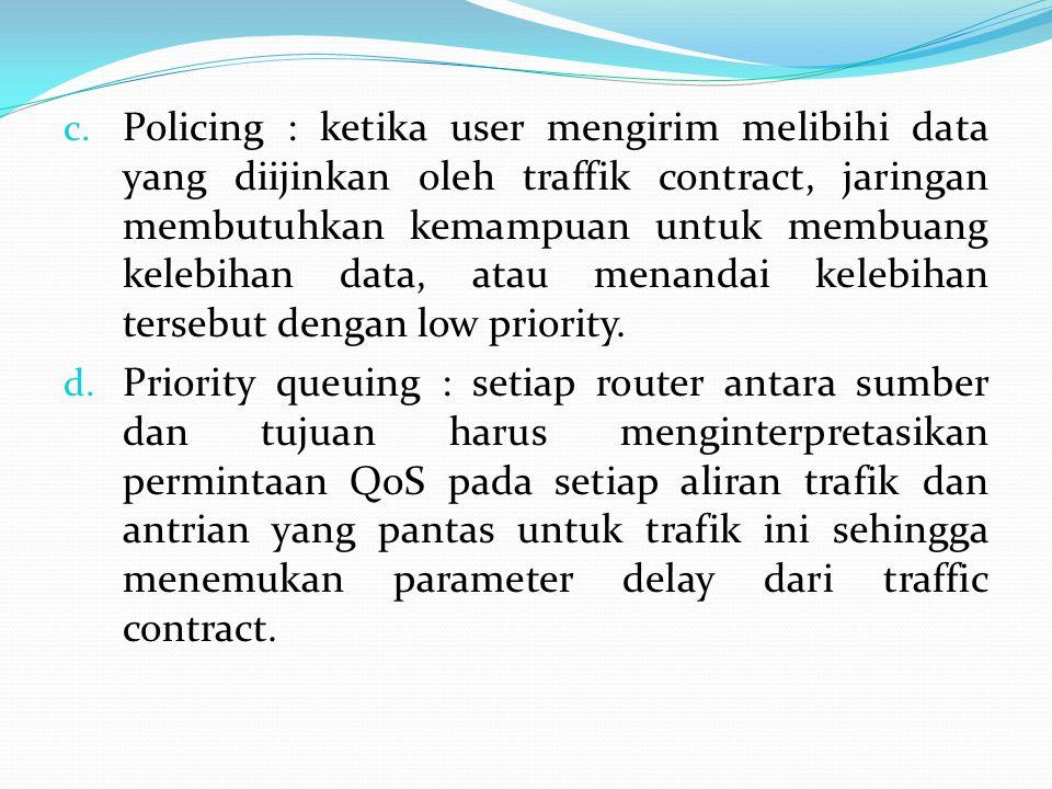 Policing : ketika user mengirim melibihi data yang diijinkan oleh traffik contract, jaringan membutuhkan kemampuan untuk membuang kelebihan data, atau menandai kelebihan tersebut dengan low priority.