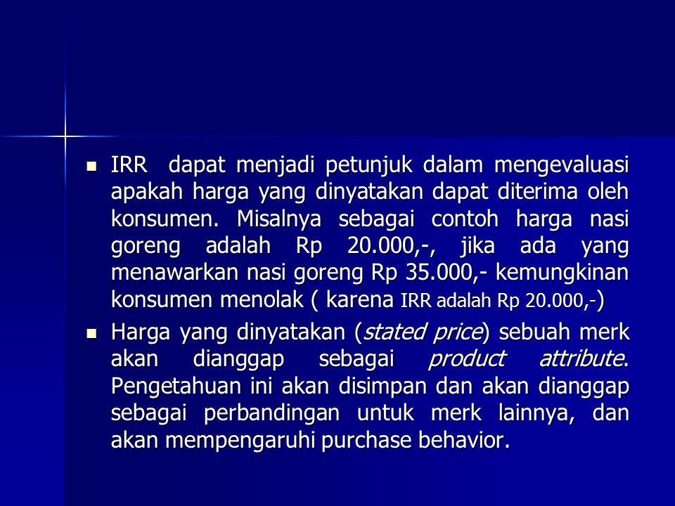 IRR dapat menjadi petunjuk dalam mengevaluasi apakah harga yang dinyatakan dapat diterima oleh konsumen. Misalnya sebagai contoh harga nasi goreng adalah Rp 20.000,-, jika ada yang menawarkan nasi goreng Rp 35.000,- kemungkinan konsumen menolak ( karena IRR adalah Rp 20.000,-)