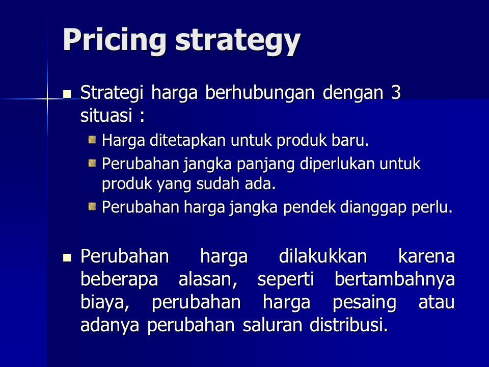 Pricing strategy Strategi harga berhubungan dengan 3 situasi :