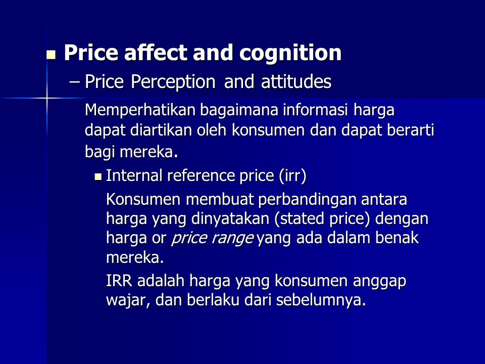 Price affect and cognition