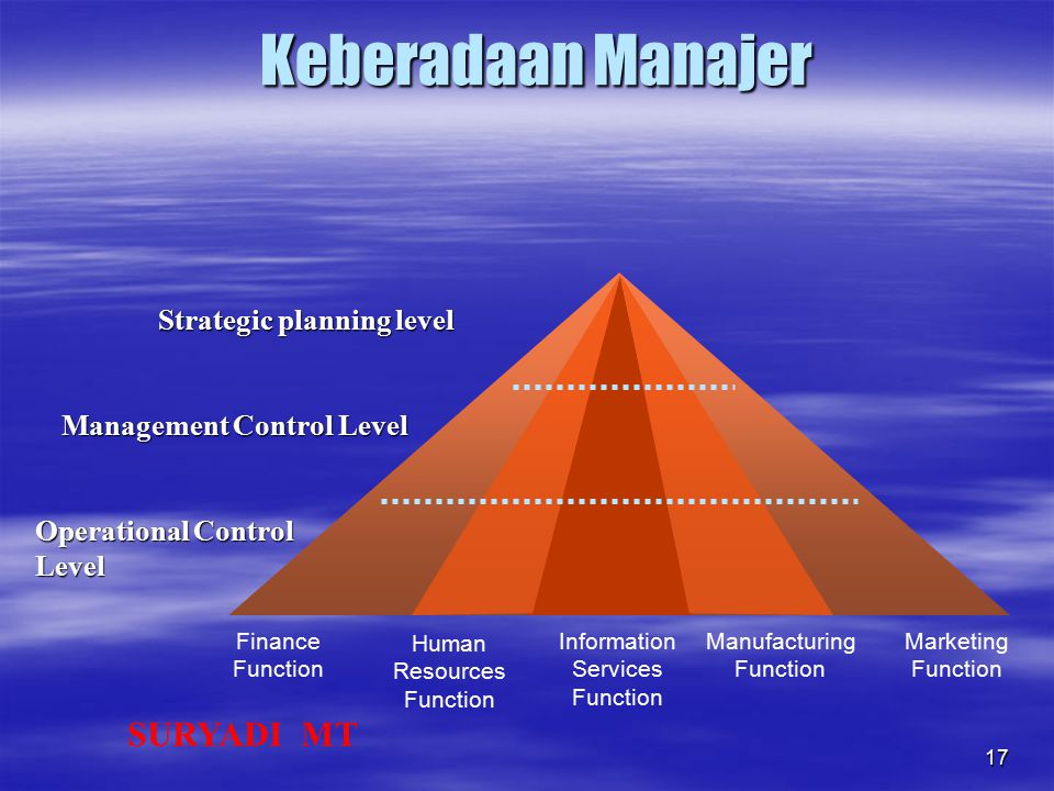 Keberadaan Manajer Strategic planning level Management Control Level