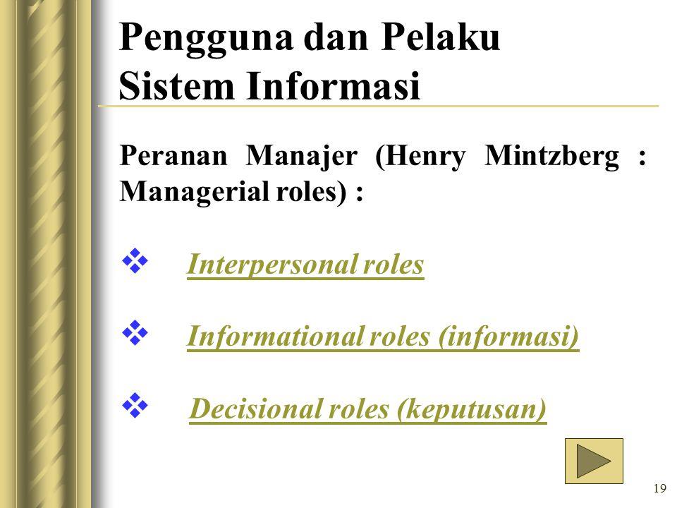 Pengguna dan Pelaku Sistem Informasi