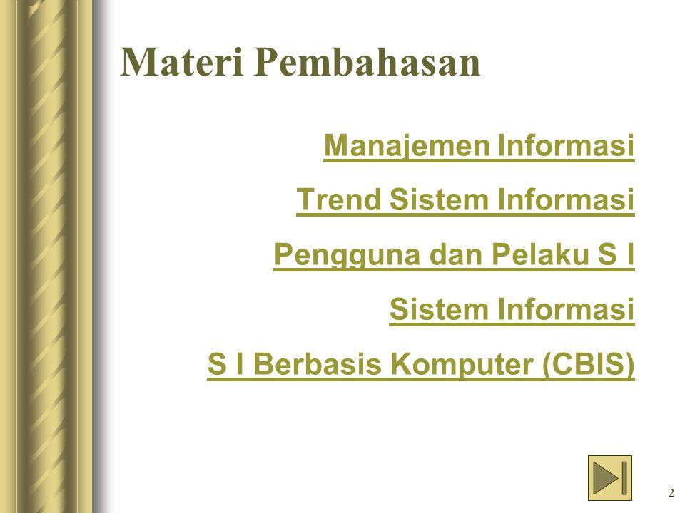 Materi Pembahasan Manajemen Informasi Trend Sistem Informasi