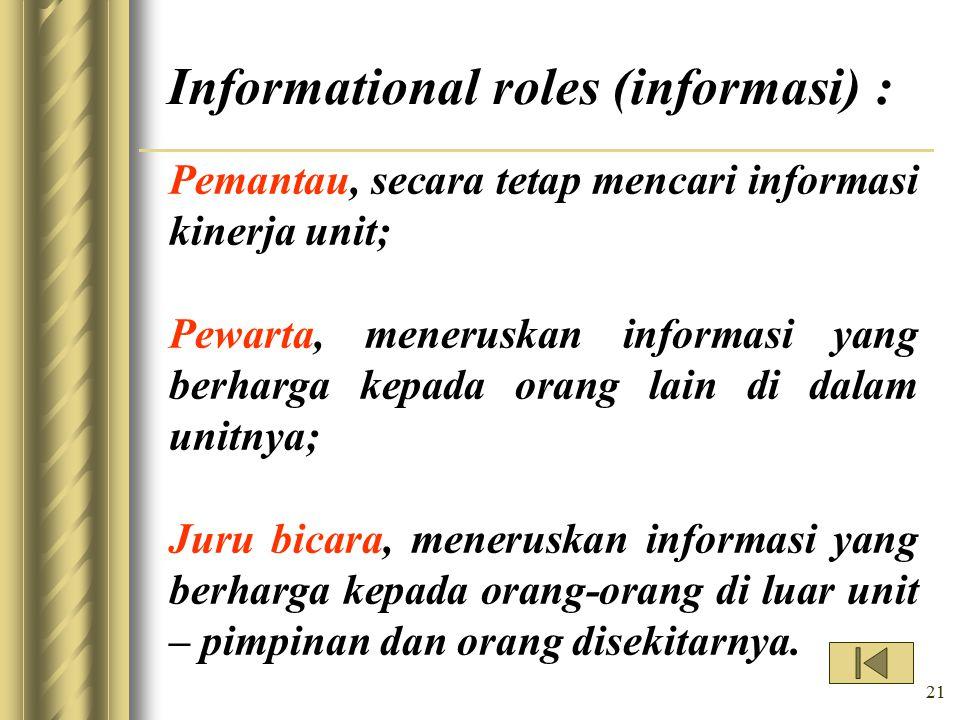 Informational roles (informasi) :