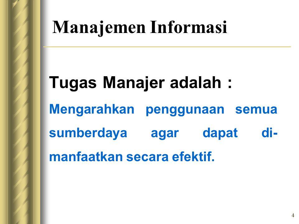 Manajemen Informasi Tugas Manajer adalah :
