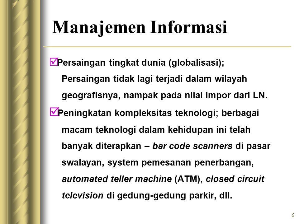 Manajemen Informasi Peningkatan kompleksitas teknologi; berbagai