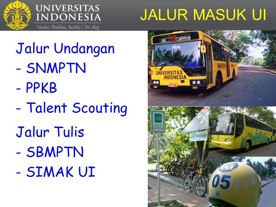 JALUR MASUK UI Jalur Undangan SNMPTN PPKB Talent Scouting Jalur Tulis