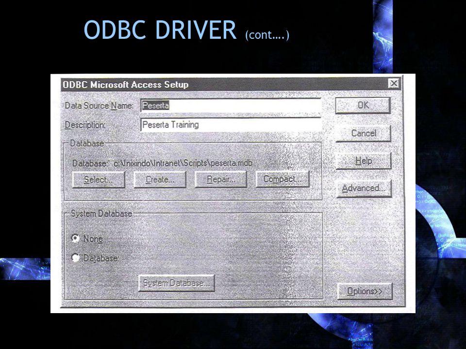 ODBC DRIVER (cont….)