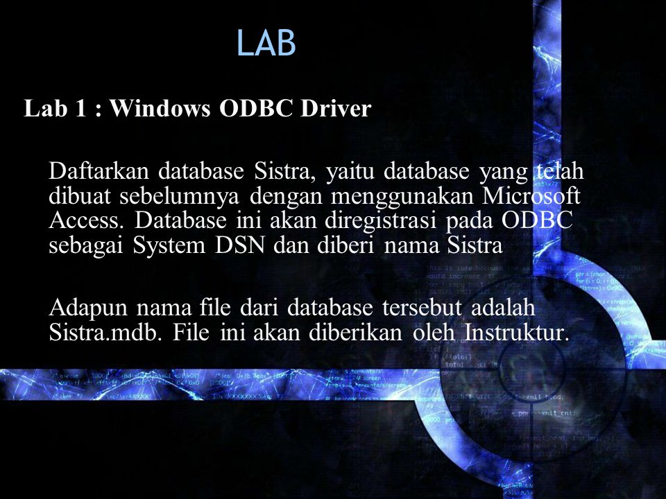 LAB Lab 1 : Windows ODBC Driver
