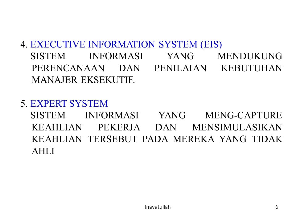 4. EXECUTIVE INFORMATION SYSTEM (EIS)