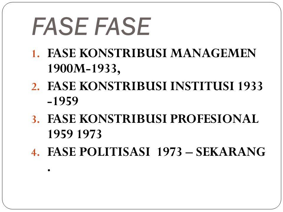 FASE FASE FASE KONSTRIBUSI MANAGEMEN 1900M-1933,
