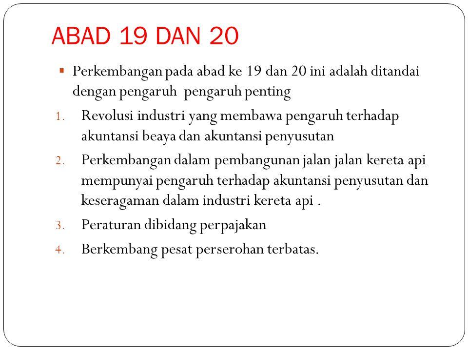 ABAD 19 DAN 20 Perkembangan pada abad ke 19 dan 20 ini adalah ditandai dengan pengaruh pengaruh penting.