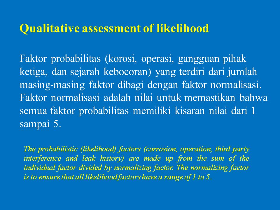 Qualitative assessment of likelihood