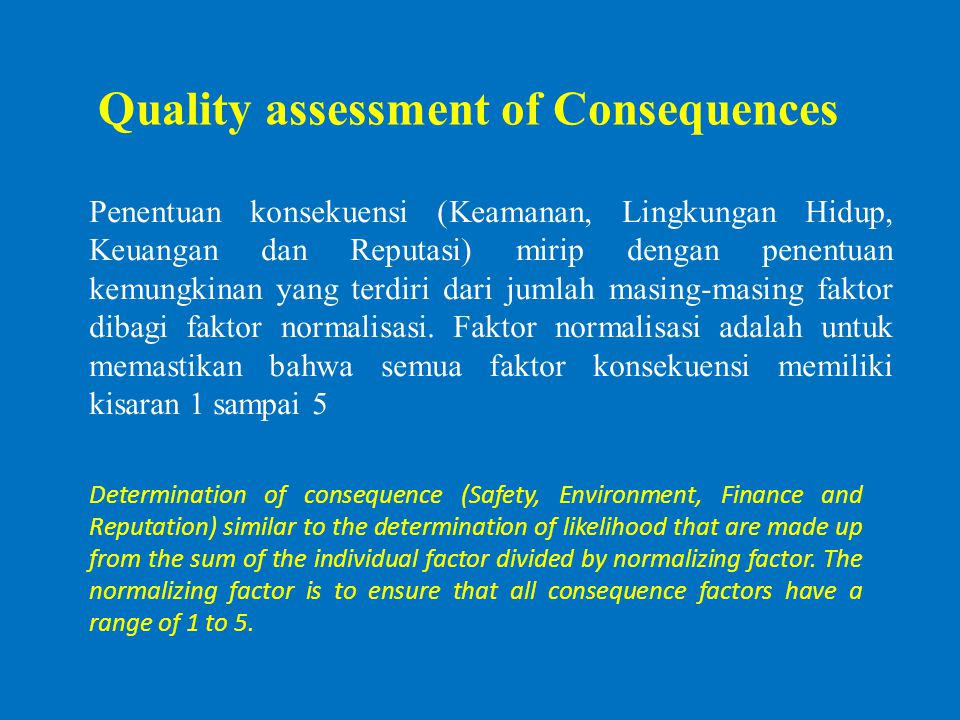 Quality assessment of Consequences