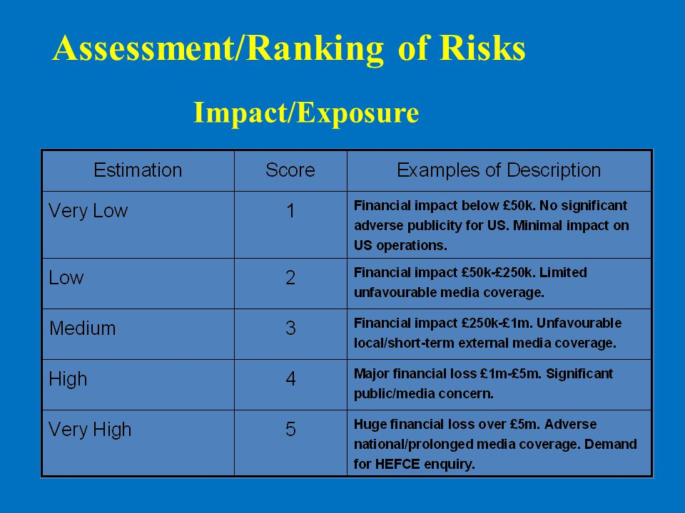 Assessment/Ranking of Risks