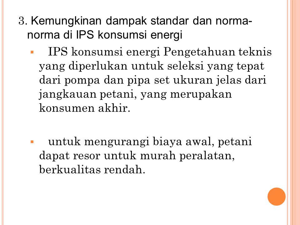 3. Kemungkinan dampak standar dan norma- norma di IPS konsumsi energi