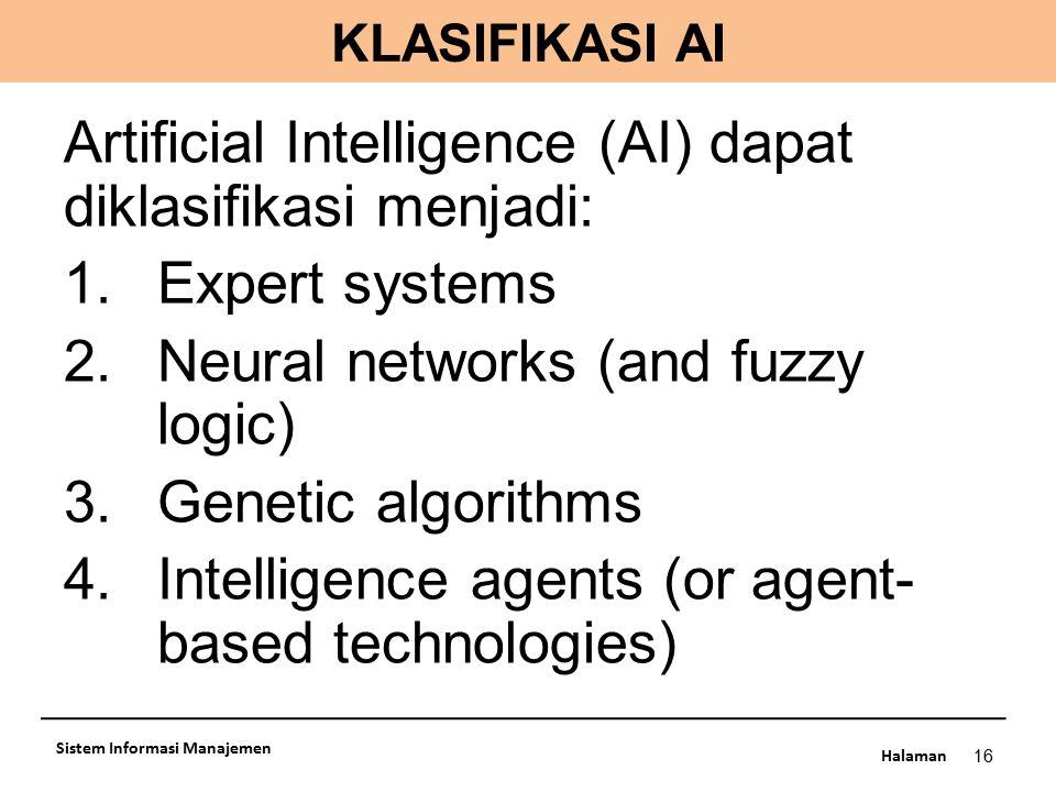 Artificial Intelligence (AI) dapat diklasifikasi menjadi: