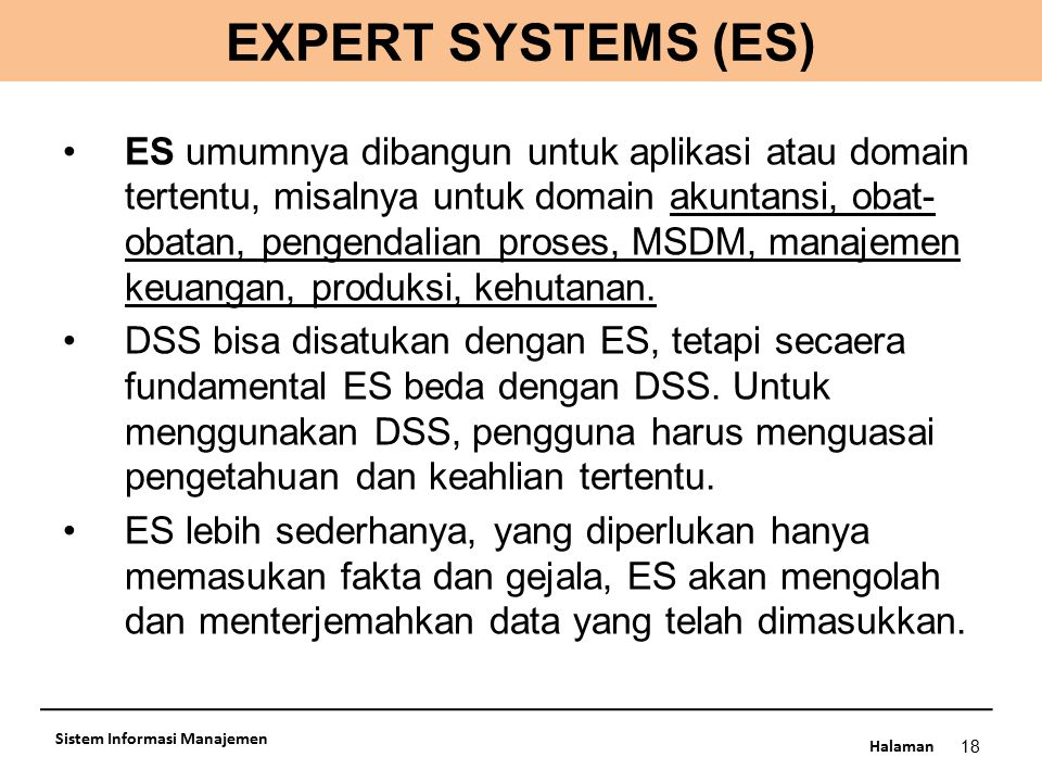 EXPERT SYSTEMS (ES)